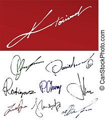 firma, scrittura, segni, set