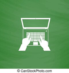 firma, skærm, klaviatur, computer notesbog, hænder, åbn