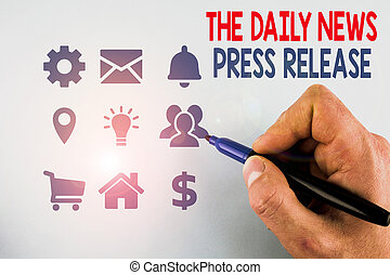 firma, skrift, stor nyhed, kungør, fotografi, release., eller, opsætning, presse, promotion., begreb, daglige, mandlig, viser, bemærk, tal, præsentation, showcasing, beregnende