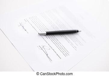 firma, su, uno, contratto