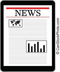 firma, tablet, viser, verden, nyhed