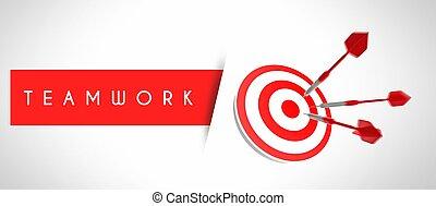 firma, teamwork, begreb, i, held