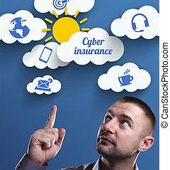 firma, teknologi, internet, og, marketing., unge, forretningsmand, tænkning, about:, cyber, forsikring