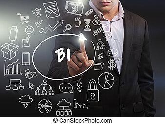 firma, teknologi, internet, og, netværk, concept., branche mand, arbejde på, den, tablet, i, fremtiden, udta, på, den, virtuelle, display:, bi