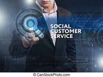 firma, teknologi, internet, og, netværk, concept., branche mand, arbejde på, den, tablet, i, fremtiden, udta, på, den, virtuelle, display:, sociale, kunde tjeneste