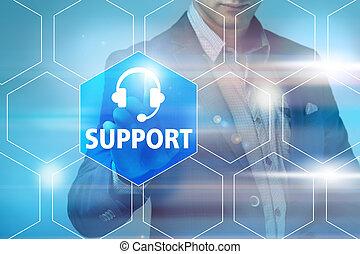 firma, teknologi, internet, og, networking, begreb, -, forretningsmand, påtrængende, kunde understøttelse, knap, på, virtuelle, skærme