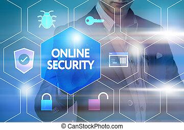 firma, teknologi, internet, og, networking, concept., forretningsmand, presse, en, knap, på, den, virtuelle, screen:, online, garanti