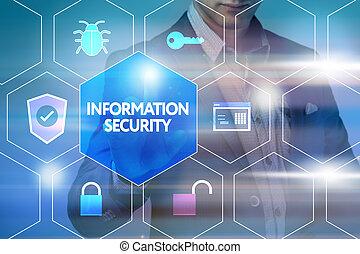 firma, teknologi, internet, og, networking, concept., forretningsmand, presse, en, knap, på, den, virtuelle, screen:, information, garanti