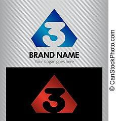 firma, zählen, 3, logo, ikone