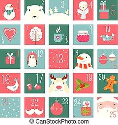 firmanavnet, elementer, naiv, komme, hånd, stram, kalender, jul