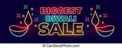 firmanavnet, festival, stor, diwali, neon, omsætning, indisk, banner