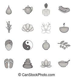 firmanavnet, iconerne, sæt, sort, kurbad, monochrome