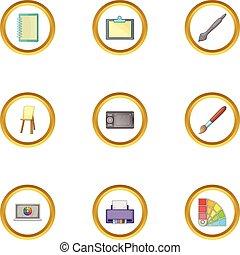 firmanavnet, iconerne, sæt, værktøj, affattelseen, computer, cartoon