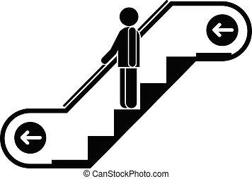 firmanavnet, rulletrappe, enkel, flytte, derned, ikon, mand
