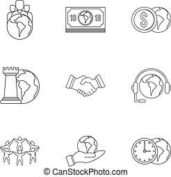 firmanavnet, udkast, sæt, globale, ikon, finans