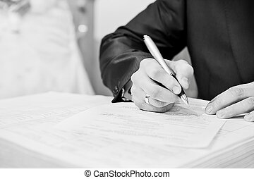 firmare, lavoro ufficio, mano