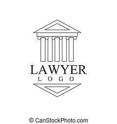firme, bâtiment, tribunal, avocat, bureau, justice, symbole, grec, noir, gabarit, logo, silhouette, blanc, droit & loi