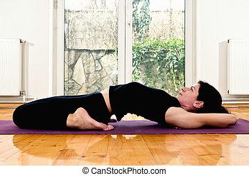 firme, chaud, fixe, pose yoga