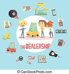 firme, différent, vente, autour de, icônes, voiture, couple, jeune, illustration, concession, véhicule, commerce, revendeur professionnel