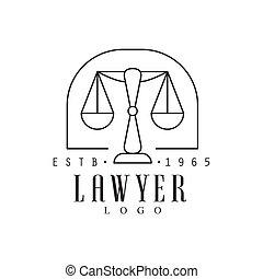 firme, droit & loi, silhouette, avocat, bureau, justice, symbole, noir, gabarit, logo, blanc, équilibre, marché