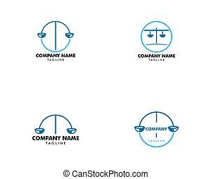 firme, ensemble, vecteur, conception, gabarit, logo, droit & loi