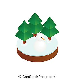 Firs in winter forest isometric 3d icon