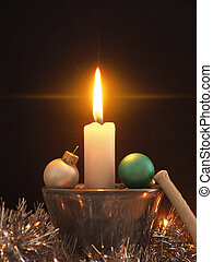 First Advent candle burning