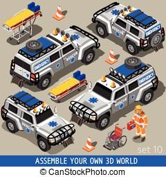 First Aid 02 Vehicle Isometric - Ambulance White Rescue SUV...