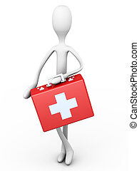 First Aid - A Cartoon Figure with a First aid case. 3D...