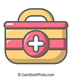 First aid bag icon, cartoon style