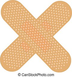 First Aid Band Plaster Strip Medical Patch Color Cross Icon.
