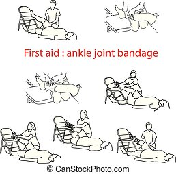 first aid bandage in case of injury of the ankle joint vector illustration outline sketch hand drawn with black lines isolated on white background
