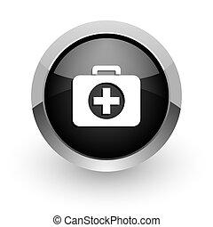 first aid black chrome glossy web icon
