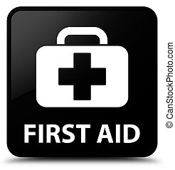 First aid black square button