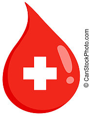 First Aid Blood Drop - Red Blood Drop With Medicine Simbol