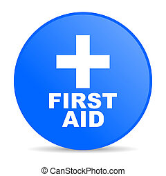 first aid blue circle web glossy icon