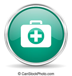 first aid blue glossy circle web icon
