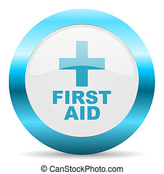 first aid blue glossy icon