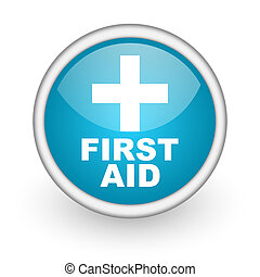 first aid blue glossy icon on white background