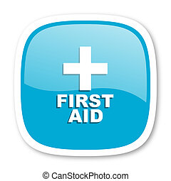 first aid blue glossy web icon