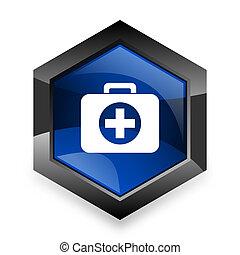 first aid blue hexagon 3d modern design icon on white background