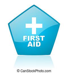 first aid blue pentagon web glossy icon