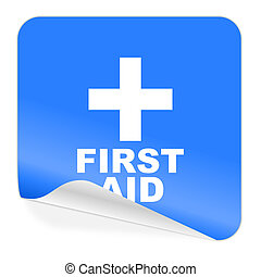 first aid blue sticker icon