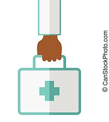 First aid box. - An african-american doctor hand carrying...