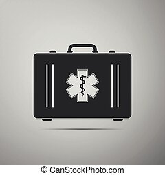 First aid box and Medical symbol of the Emergency - Star of Life icon isolated on grey background. Flat design. Vector Illustration