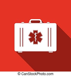 First aid box and Medical symbol of the Emergency - Star of Life icon isolated with long shadow. Flat design. Vector Illustration