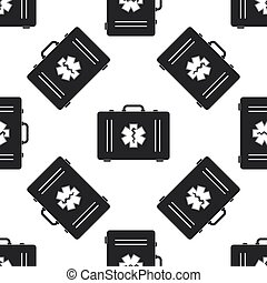 First aid box and Medical symbol of the Emergency - Star of Life icon seamless pattern on white background. Flat design. Vector Illustration
