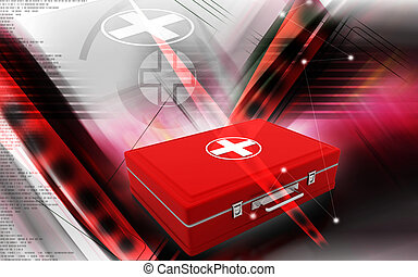 First aid box - Digital illustration of First aid box in...