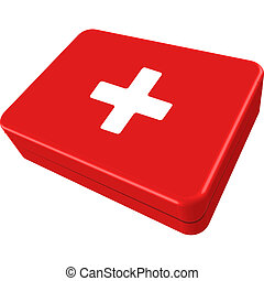 first aid box isolated on white background, abstract vector...