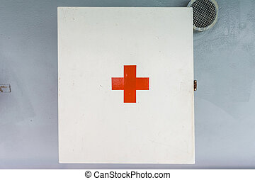 First aid box on the wall